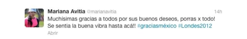 Así agradeció Mariana el apoyo de México.