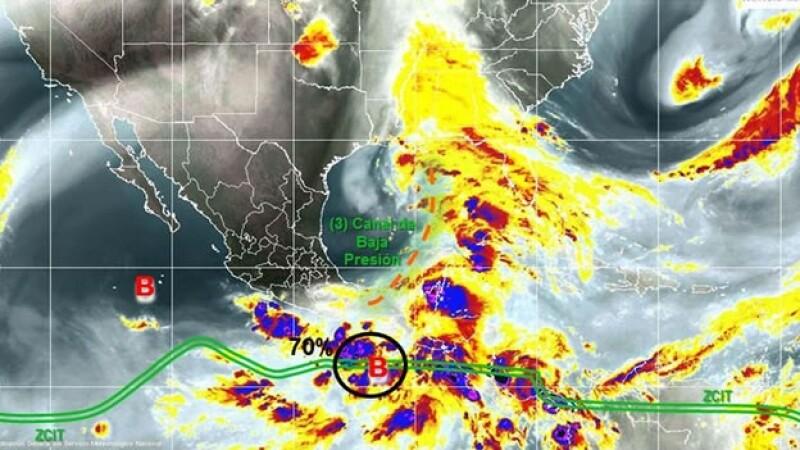 La baja presión que provocará lluvias torrenciales en Chiapas y Campeche este domingo y lunes