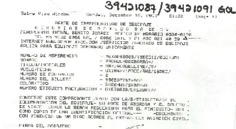 Jacky compartió en Twitter el número de reporte de sus maletas extraviadas.