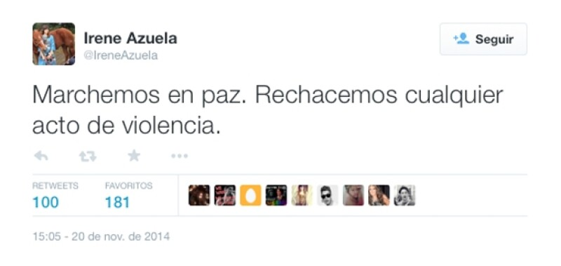 Irene Azuela recomendó una marcha pacífica.