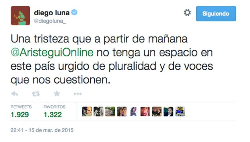 Esto fue lo que escribió Diego Luna sobre el tema.