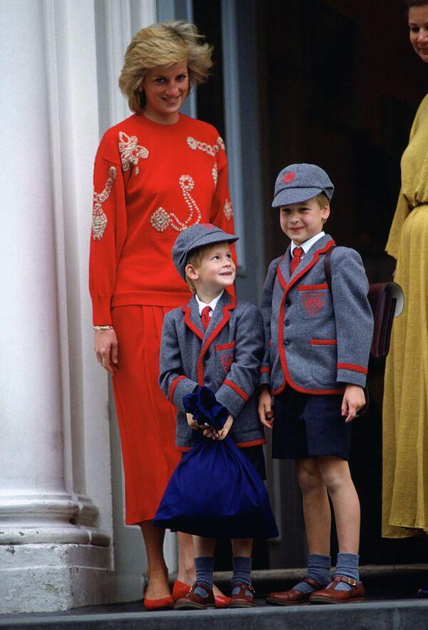 La princesa Diana, príncipe Harry y príncipe William