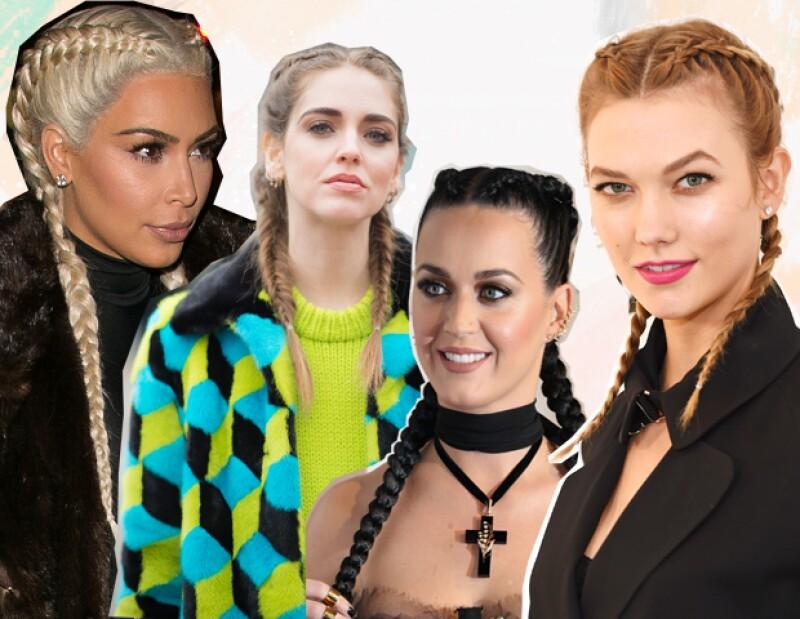 Kim Kardashian, Chiara Ferragni, Katy Perry y Karlie Kloss, rockean el estilo clásico de hacer las double braids.