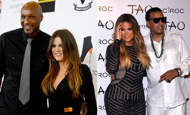 Khloé con su ex esposo Lamar Odom  y su ex novio French Montana