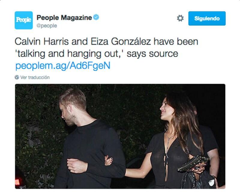El DJ escocés y la actriz mexicana fueron vistos tomados del brazo cuando salían de la fiesta de un amigo en Los Ángeles.
