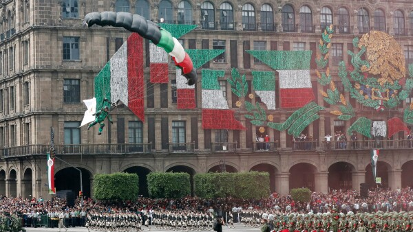 Military parade to celebrate Independence Day at Zocalo Square in downtown Mexico City
