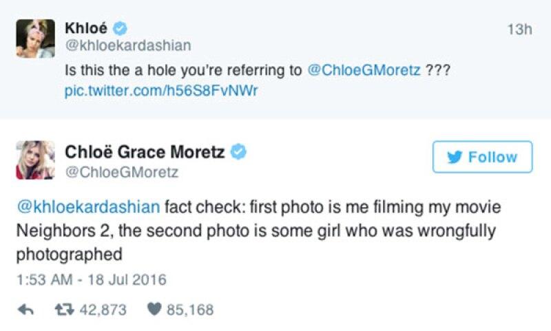 Chloe no tardó en asegurar que ella no era la de la foto.