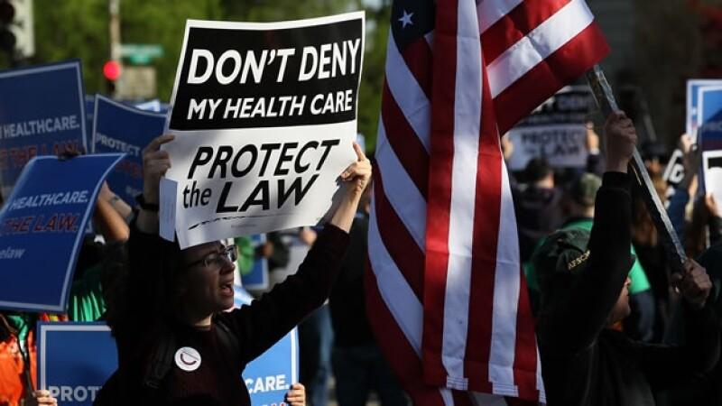 manifestantes apoyan la reforma de salud de Barack Obama