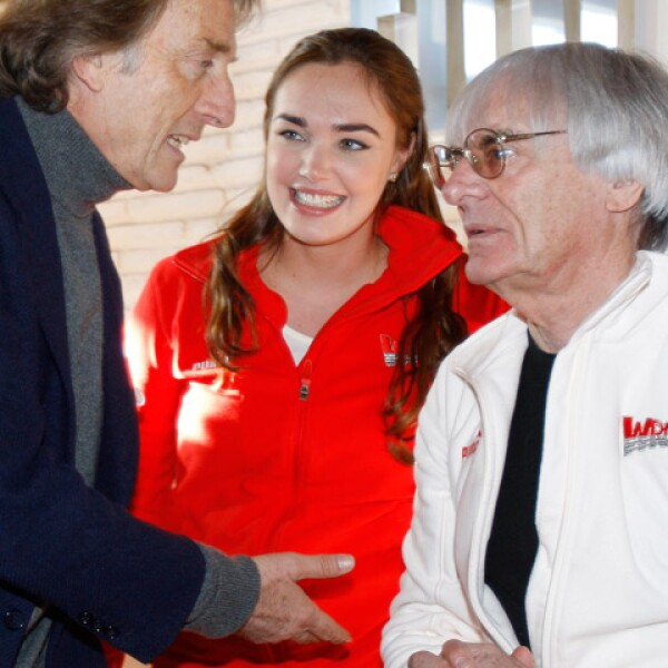 Tamara, en compañía de Luca Cordero di Montezemolo, mandamás de Ferrari y su padre Bernie Ecclestone.