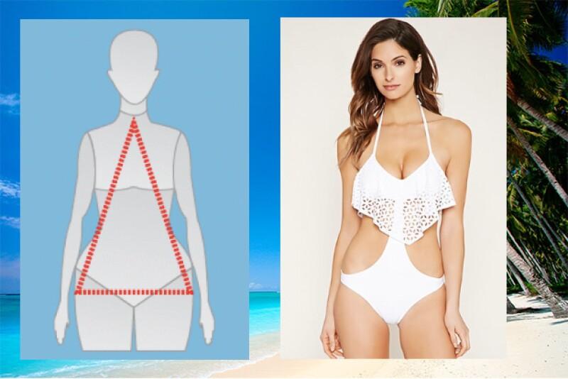 Para este tipo de cuerpo, se debe de optar por prendas que aparenten que la parte superior es mas amplia. Traje: Forever21.