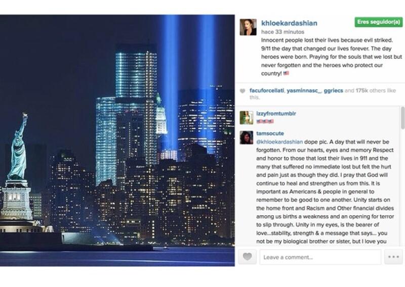 La menor de las Kardashian pidió una oración por las víctimas del atentado terrorista del 2001 en Nueva York.