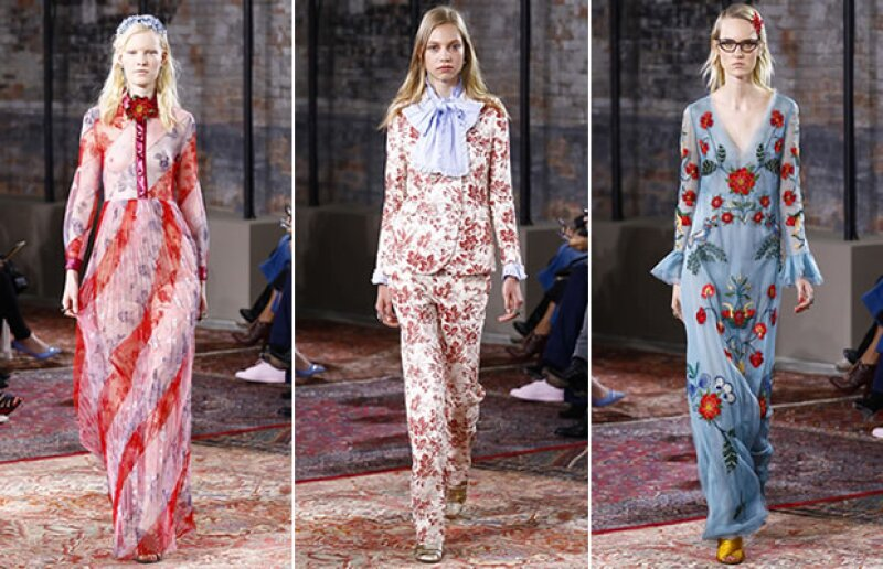 Gucci resaltó la presencia de las flores en su pasarela.