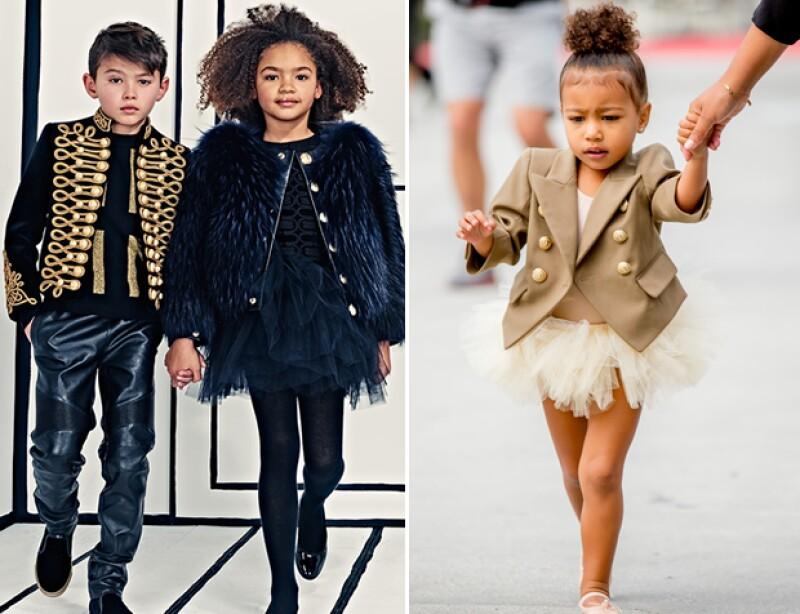 Con apenas 2 años, la hija de Kim y Kanye ha sido la musa del director creativo de la firma francesa; Olivier Rousteing, quien anunció el próximo lanzamiento de la colección Balmain Kids.