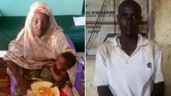 Amina Ali Nkeki y su bebé, junto a un hombre al que se le señala como su esposo.