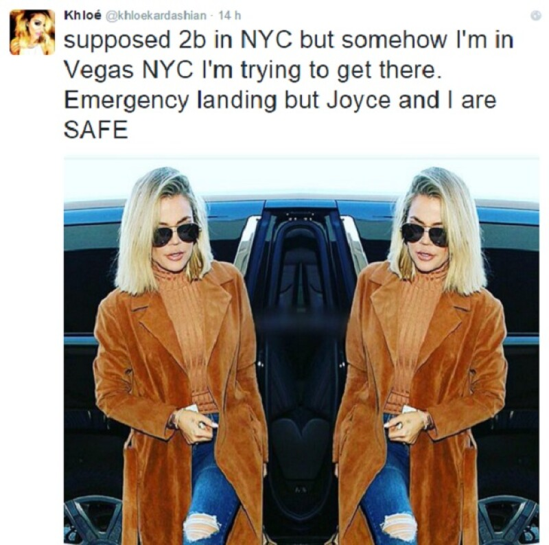 """""""Debería estar en Nueva York, pero de alguna manera he acabado en Las Vegas. NY, estoy intentando llegar allí. Hemos tenido un aterrizaje de emergencia, pero Joyce y yo estamos bien"""", tuiteó Khloé."""