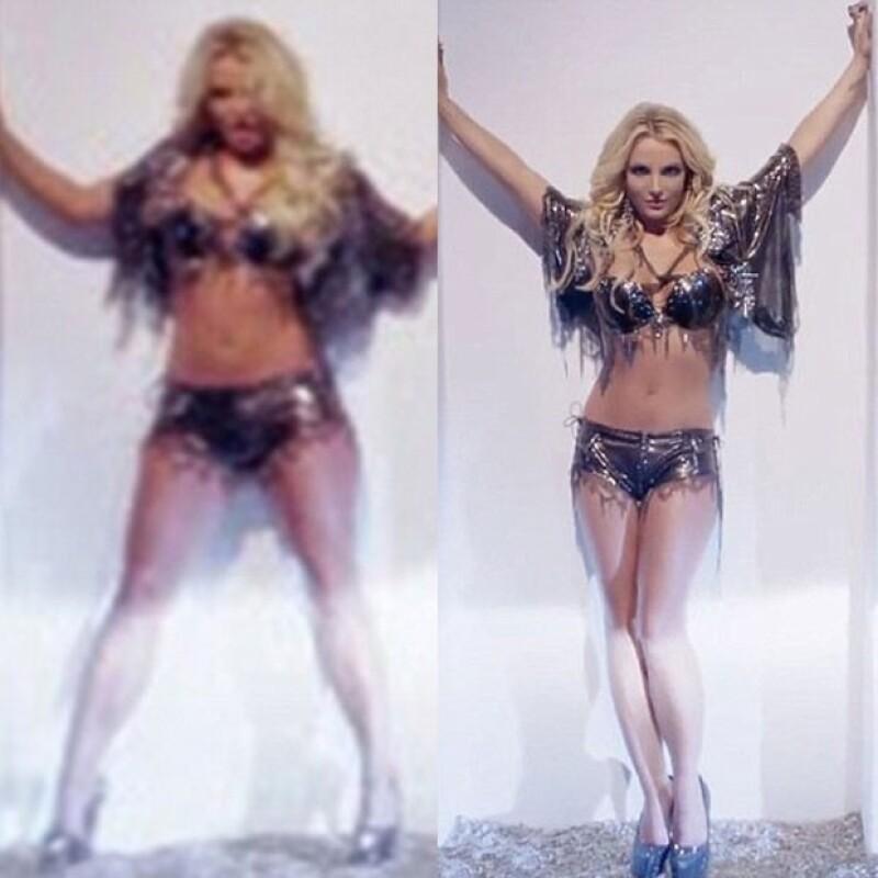 """HOAX Films, empresa que se encargó de realizar los efectos especiales del video """"Work Bitch"""", compartió unas fotos donde aparece cómo lucía antes la cantante y después de los arreglos."""