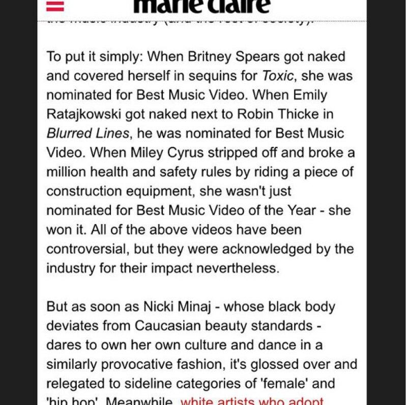 El texto que habla del racismo en la industria musical fue publicado por la revista Marie Caire y Nicki no dudo en compartirlo.