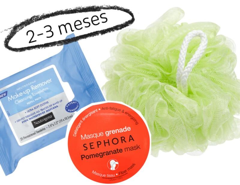 Las mascarillas, toallitas húmedas y esponjas duran aproximadamente 3 meses.