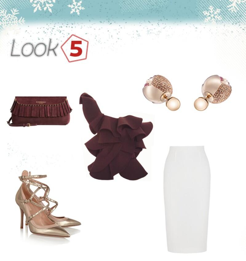 Clutch: Burberry  / Zapatos: Valentino / Top: Johanna Ortiz / Falda: Rouland Mouret / Aretes: Dior