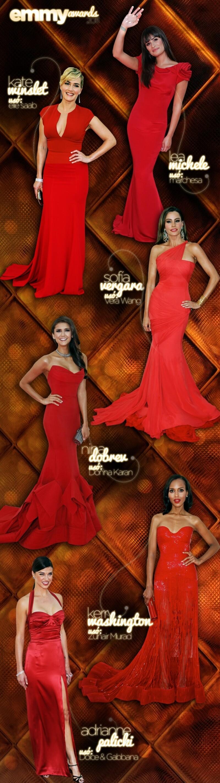 Cada una su estilo, lo que sí es que todas optaron por el color de temporada y Sofía Vergara, Kate Winslet, Lea Michelle, Nina Dobrev y Adrianne Palicki vistieron de rojo.