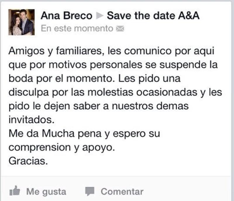 Este es el mensaje que Ana Brenda escribió para sus invitados.