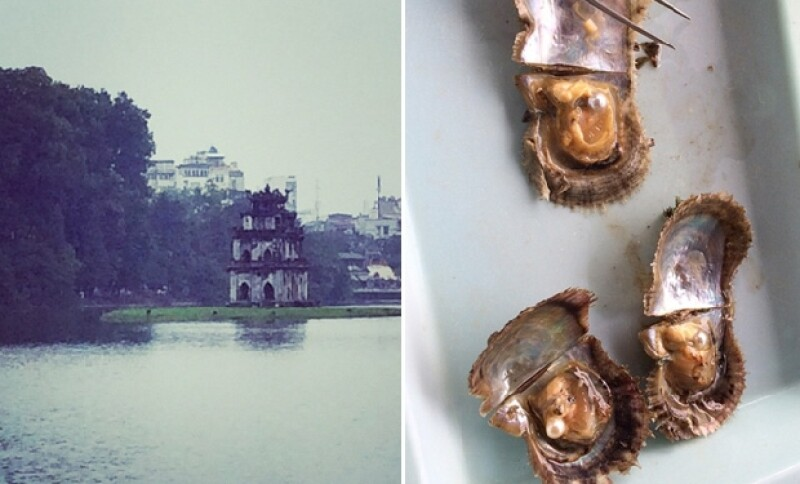 Comida con perlas horneadas y la hermosa vista de la arquitectura de Hanoi Bay.