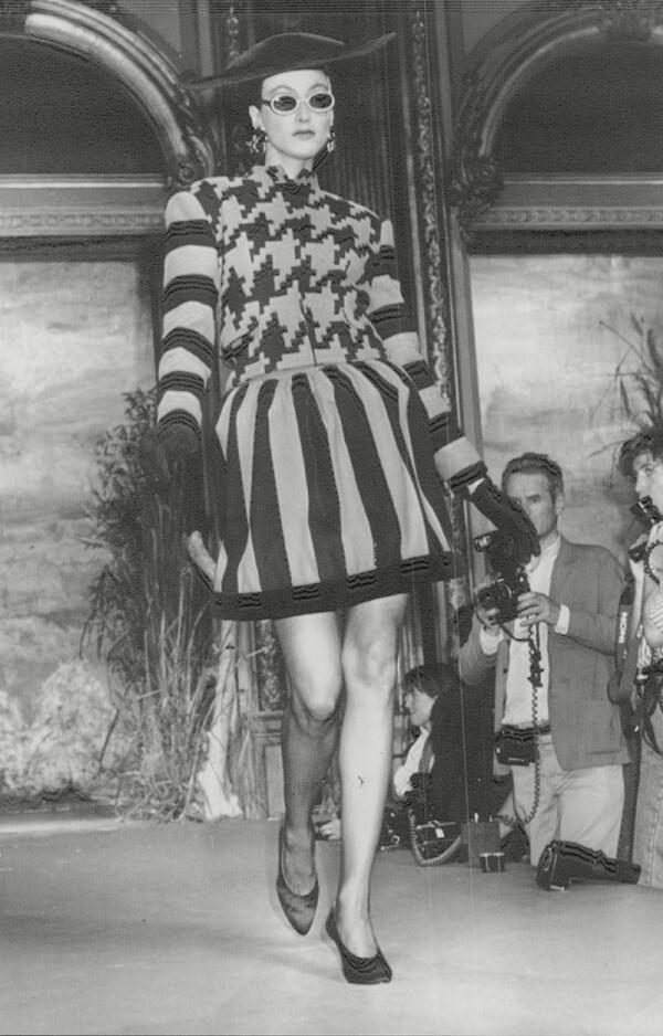 Fashion Women 1987 Model On Paris Catwalk Wearing Christian Lacroix.