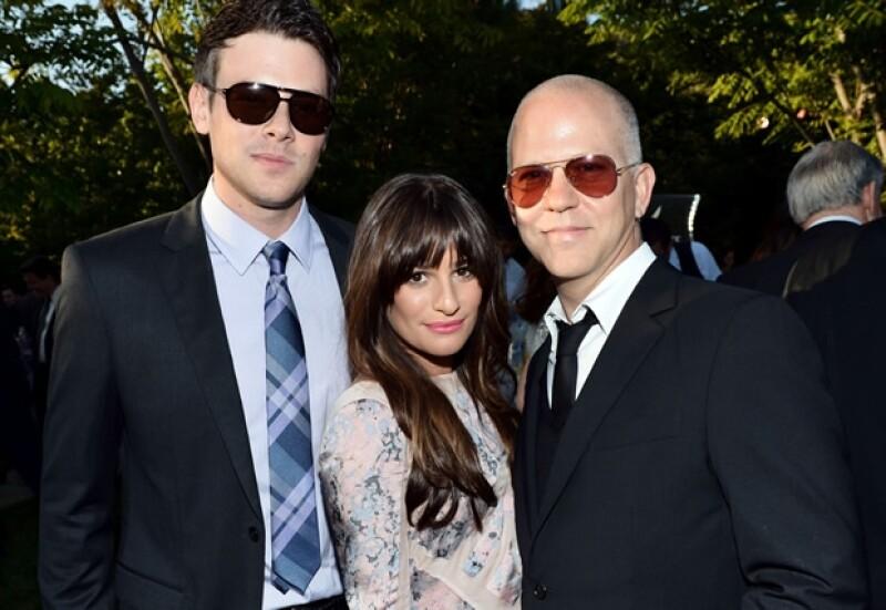 Cory Monteith, Lea Michele y el creador de Glee, Ryan Murphy.