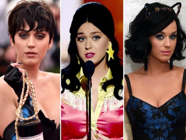 Katy pasó de tener un corte tipo Kris Jenner al pelo largo y luego a un corte bob; actualmente usa éstos dos últimos.