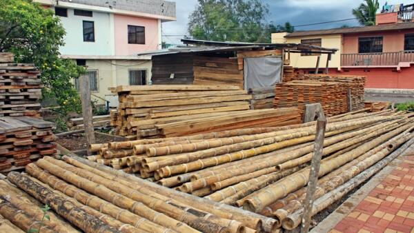 Bamboo Poles Construction Site, Ecuador