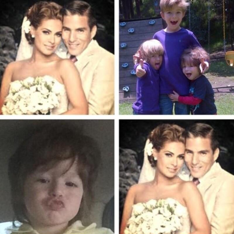 Galilea compartió un collage con fotos del día de su boda, los hijos del primer matrimonio de Fernando y el pequeño Mateo.