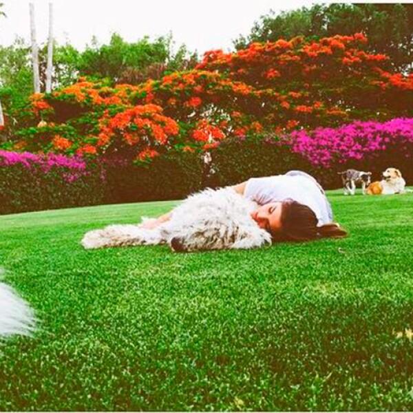 Karla tomando una siesta con Kush.
