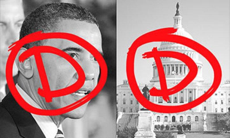 Aunque ambos obtuvieron un promedio general de D, Obama tuvo un resultado un poco mejor que el Congreso, al obtener tres B y sólo una F.  (Foto: Cortesía CNNMoney)