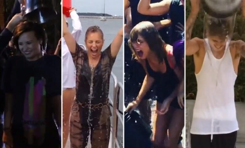 Cada vez más famosos aceptan el reto para recaudar fondos y combatir la Esclerosis Lateral Amiotrófica. Demi Lovato, Thalía, Taylor Swift y Justin Bieber entre los más entusiastas.