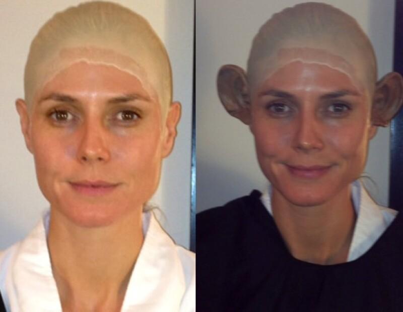 Heidi compartió en Twitter el proceso de transformación para su traje de mono.