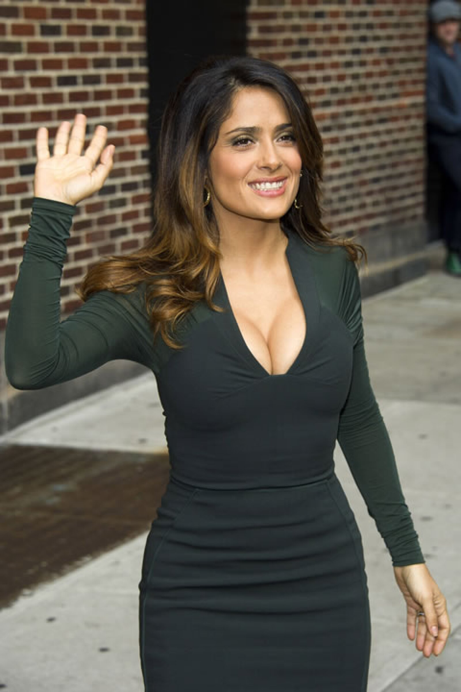 Salma antes de entrar al Late Show with David Letterman.
