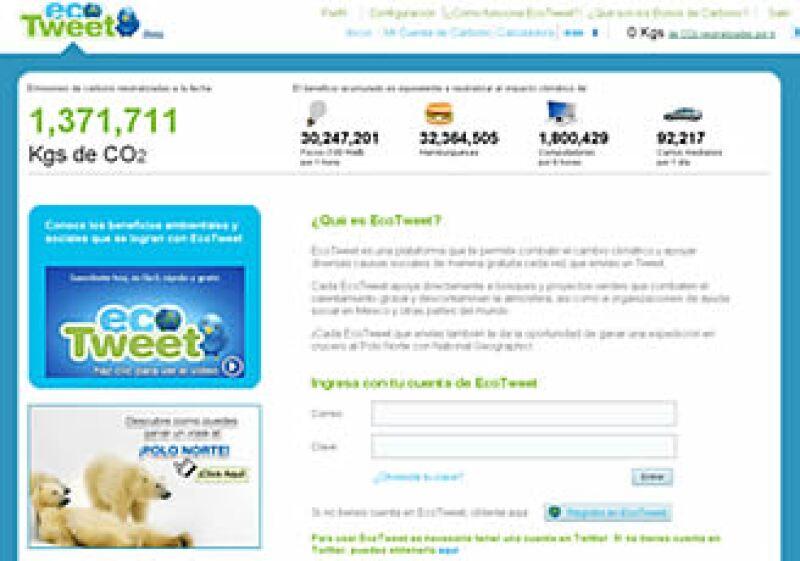 La aplicación EcoTweet vincula la publicidad con la ayuda ambiental.  (Foto: Cortesía EcoTweet)