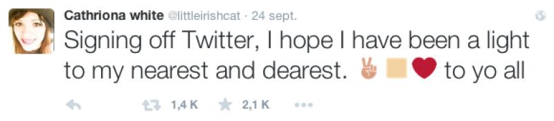 El tuit parece indicar una despedida a sus seres queridos.