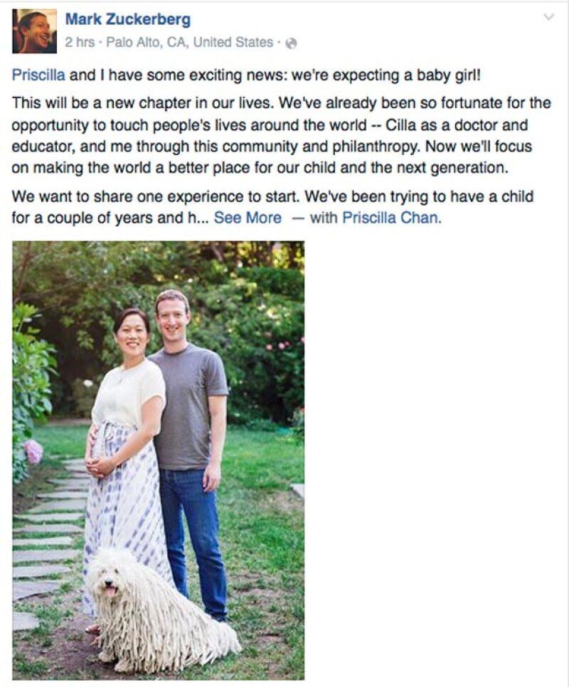 El creador de Facebook anunció hoy que él y su esposa Priscilla Chan se convertirán en padres de una niña.