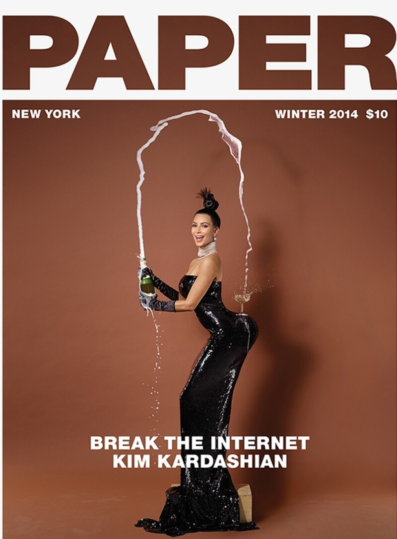 """Anteriormente Kim había """"roto"""" el internet con una portada en Paper Magazine que igualmente exageró sus atributos."""