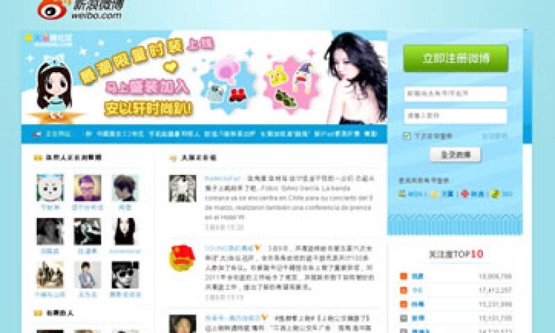 Weibo, que en chino significa microblog, está gestionado por varias empresas, la mayor de ellas Sina. (Foto: Tomada de weibo.com)
