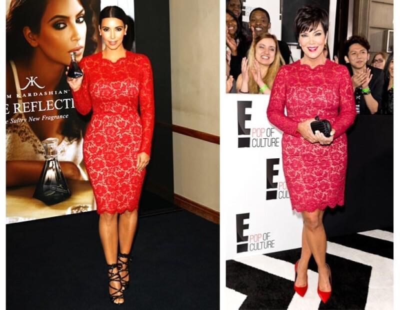 Ayer por la noche, la matriarca de la familia Kardashian-Jenner, Kris, acudió a un evento de E! en Nueva York donde lució un vestido rojo, el cual usó Kim hace un año.