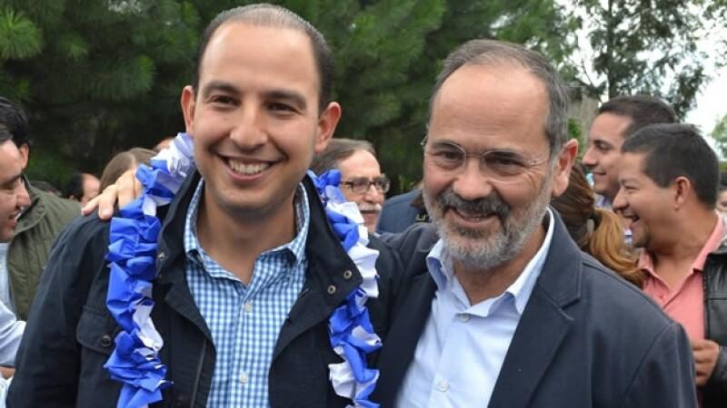 Marko Cortés (izquierda) junto a Gustavo Madero celebrando el cumpleaños del ahora coordinador de diputados federales panistas en octubre de 2014