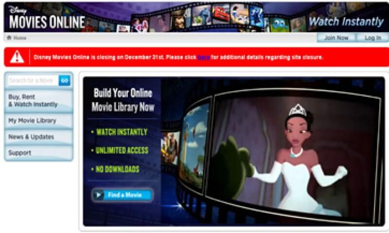 Disney dijo que reemplazará a su sitio de renta de películas con otra página. (Foto tomada de disneymoviesonline.go.com)