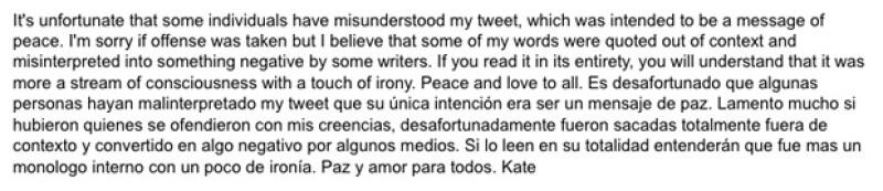 La actriz mexicana dio respuesta a la serie de comentarios que se dieron a raíz del mensaje que publicó la semana pasada en su Twitter, en donde le dirigió un mensaje al &#39El Chapo&#39 Guzmán.