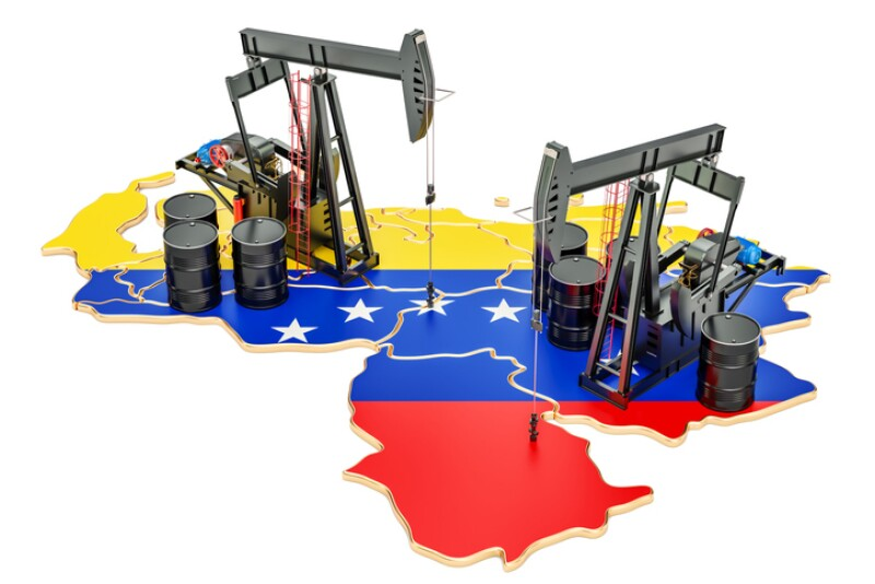 Venezuela map with oil barrels and pumpjacks. Oil production concept. 3D rendering
