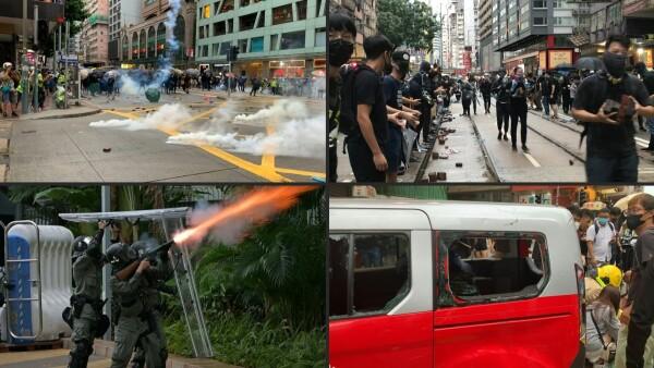 Manifestantes prodemocracia desafían la prohibición del uso de máscaras