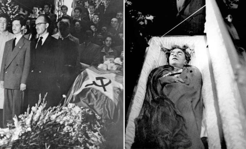 Frida Kahlo murió de pulmonía a los 47 años el 13 de julio de 1954. Durante su funeral en Bellas Artes sus amigos quitaron la bandera de México y pusieron la de la hoz y el martillo que representaba al comunismo.