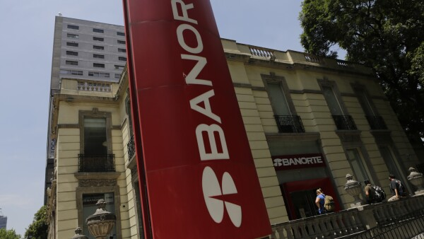 General view of the logo of Banorte Bank is seen at a branch office in Mexico City