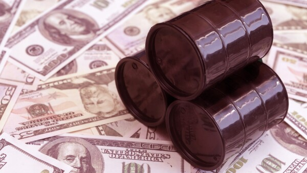 Barrels of oil, American dollar bills.